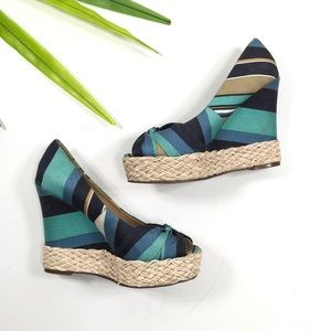 Report | Blue Striped w/ Weaved Accent Wedge Heels